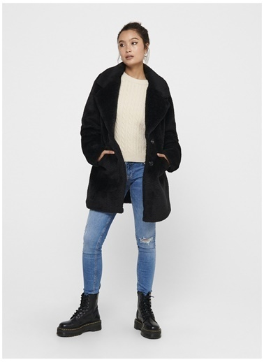 Only Only Annie Faux Fur Kaban Siyah